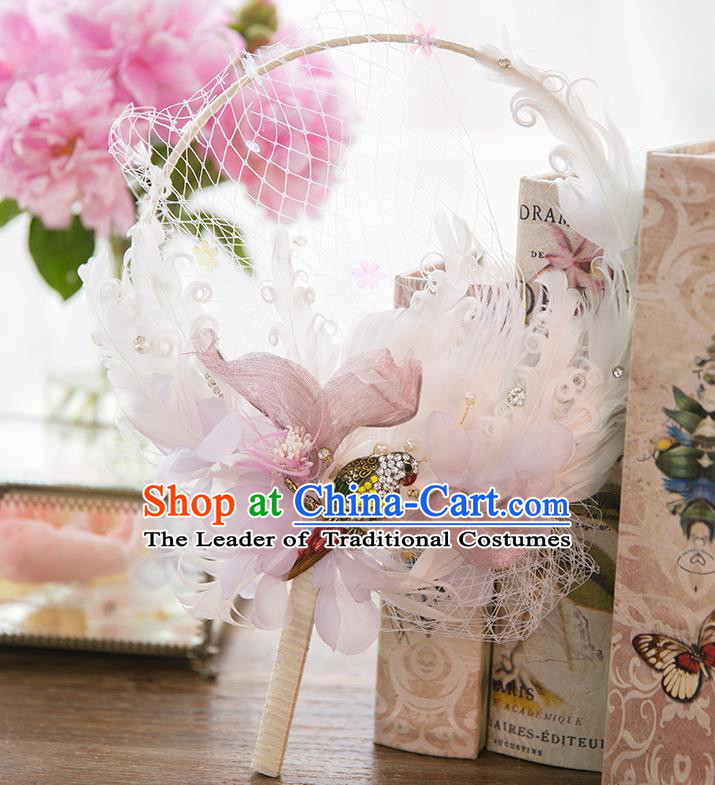Traditional Asian Oriental Chinese Palace Lady Princess Wedding Round Fans, Bride White Feather Circular Fan for Women