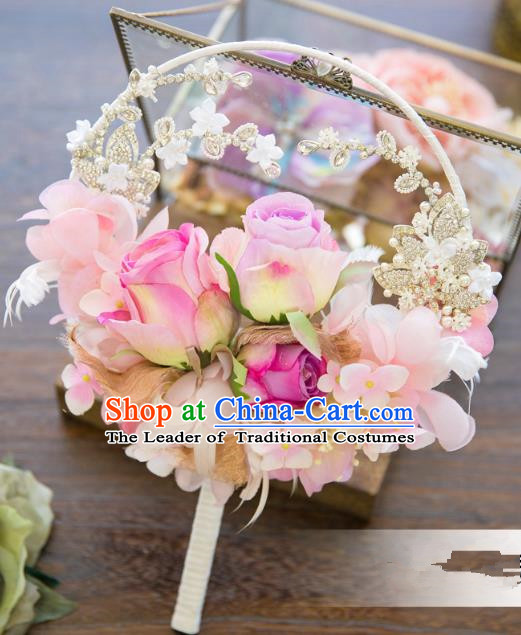 Traditional Asian Oriental Chinese Palace Lady Princess Wedding Round Fans, Bride Pink Flowers Circular Fan for Women