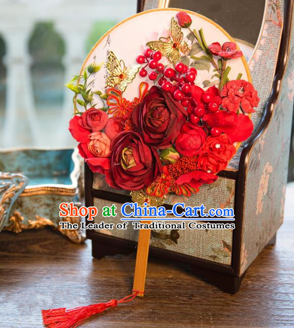 Traditional Asian Oriental Chinese Palace Lady Princess Wedding Round Fans, Bride Red Flowers Circular Fan for Women