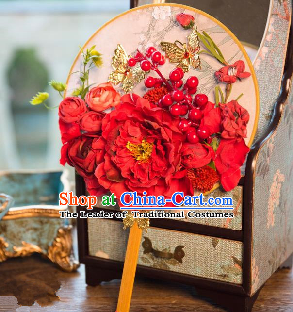 Traditional Asian Oriental Chinese Palace Lady Princess Wedding Round Fans, Bride Red Peony Flowers Circular Fan for Women