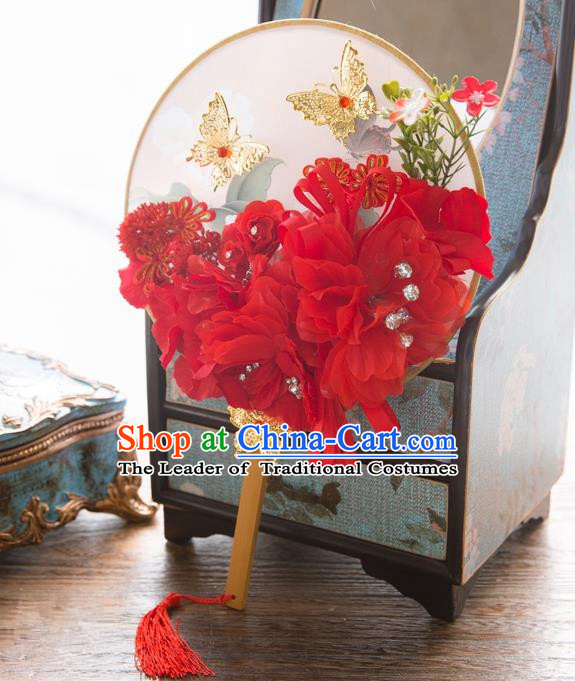 Traditional Asian Oriental Chinese Palace Lady Princess Wedding Round Fans, Bride Red Silk Flowers Circular Fan for Women