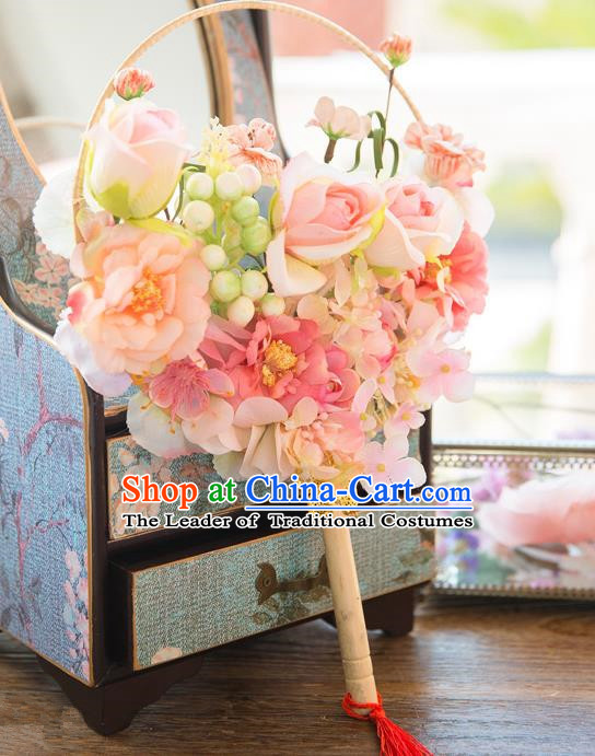 Traditional Asian Oriental Chinese Palace Lady Princess Wedding Round Fans, Bride Pink Silk Flowers Circular Fan for Women