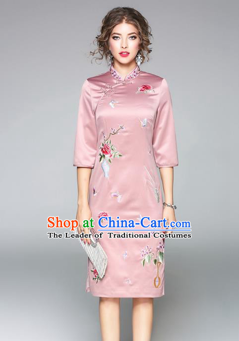 Asian Chinese Oriental Costumes Pink Plated Buttons Cheongsam, Traditional China National Embroidery Chirpaur Dress for Women