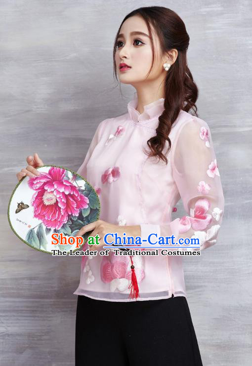 Asian Chinese Oriental Costumes Classical Embroidery Flowers Pink Chiffon Blouse, Traditional China National Tang Suit Cheongsam Upper Outer Garment for Women