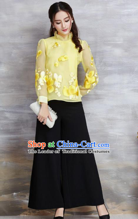 Asian Chinese Oriental Costumes Classical Embroidery Flowers Yellow Chiffon Blouse, Traditional China National Tang Suit Cheongsam Upper Outer Garment for Women