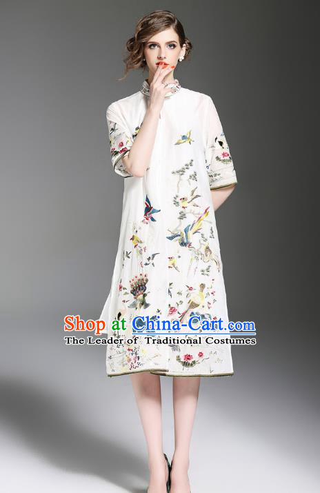 Asian Chinese Oriental Costumes Classical Embroidery White Cardigan, Traditional China National Tang Suit Upper Outer Garment Overcoat for Women
