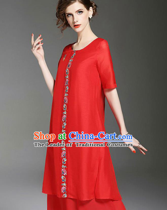 Asian Chinese Oriental Costumes Classical Embroidery Red Chiffon Dress, Traditional China National Tang Suit Qipao Dress for Women