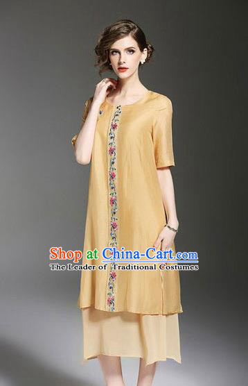 Asian Chinese Oriental Costumes Classical Embroidery Yellow Chiffon Dress, Traditional China National Tang Suit Qipao Dress for Women