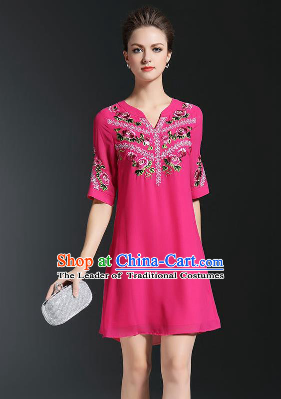 Asian Chinese Oriental Costumes Classical Embroidery Rosy Chiffon Short Dress, Traditional China National Tang Suit Qipao Dress for Women