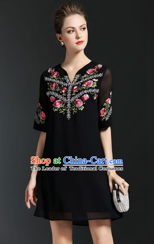 Asian Chinese Oriental Costumes Classical Embroidery Black Chiffon Short Dress, Traditional China National Tang Suit Qipao Dress for Women