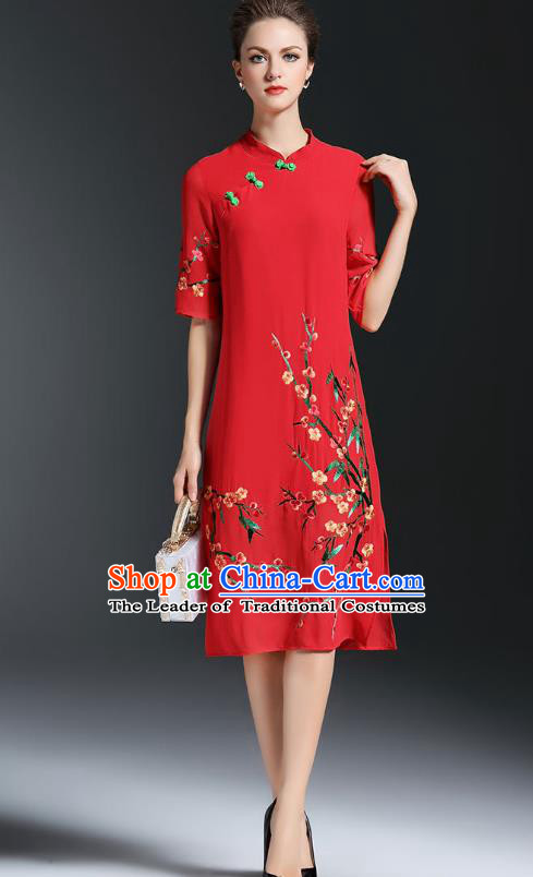 Asian Chinese Oriental Costumes Classical Embroidery Plum Blossom Red Cheongsam, Traditional China National Chirpaur Tang Suit Qipao Dress for Women