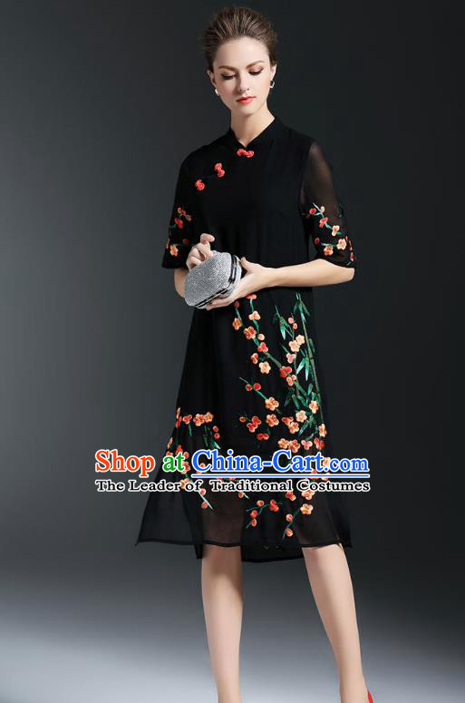 Asian Chinese Oriental Costumes Classical Embroidery Plum Blossom Black Cheongsam, Traditional China National Chirpaur Tang Suit Qipao Dress for Women