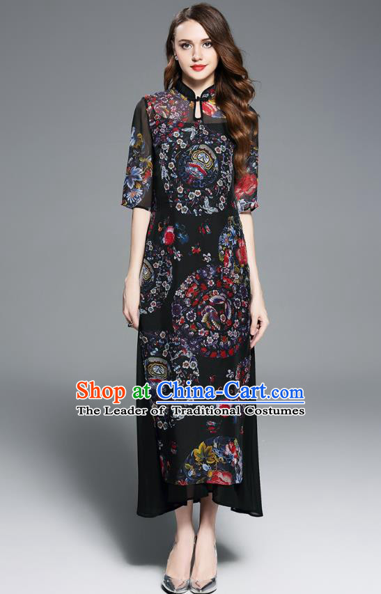 Asian Chinese Oriental Costumes Classical Printing Cheongsam, Traditional China National Chirpaur Tang Suit Qipao Dress for Women
