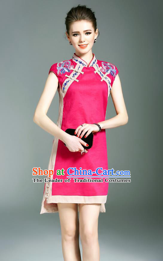 Asian Chinese Oriental Costumes Classical Double-Breasted Embroidery Rosy Cheongsam, Traditional China National Chirpaur Tang Suit Qipao Dress for Women