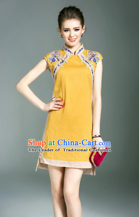 Asian Chinese Oriental Costumes Classical Double-Breasted Embroidery Yellow Cheongsam, Traditional China National Chirpaur Tang Suit Qipao Dress for Women