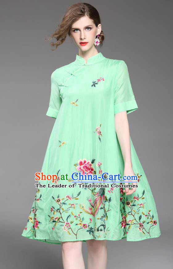 Asian Chinese Oriental Costumes Classical Slant Opening Embroidery Phoenix Peony Cheongsam, Traditional China National Chirpaur Tang Suit Plated Buttons Green Qipao Dress for Women