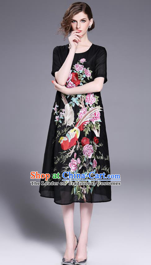 Asian Chinese Oriental Costumes Classical Slant Opening Embroidery Phoenix Linen Cheongsam, Traditional China National Chirpaur Tang Suit Plated Buttons Black Qipao Dress for Women