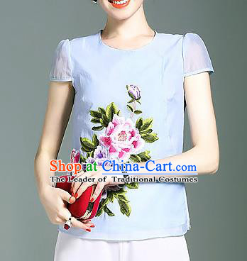 Asian Chinese Oriental Costumes Classical Embroidery Peony Cheongsam Upper Outer Garment, Traditional China National Chirpaur Tang Suit Plated Buttons Blue Blouse for Women