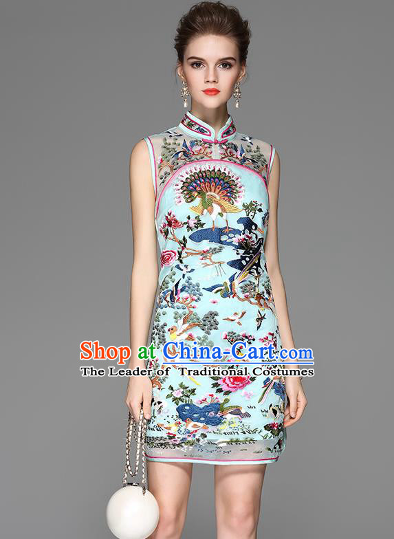 Asian Chinese Oriental Costumes Classical Palace Embroidery Blue Cheongsam, Traditional China National Chirpaur Tang Suit Stand Collar Qipao Dress for Women