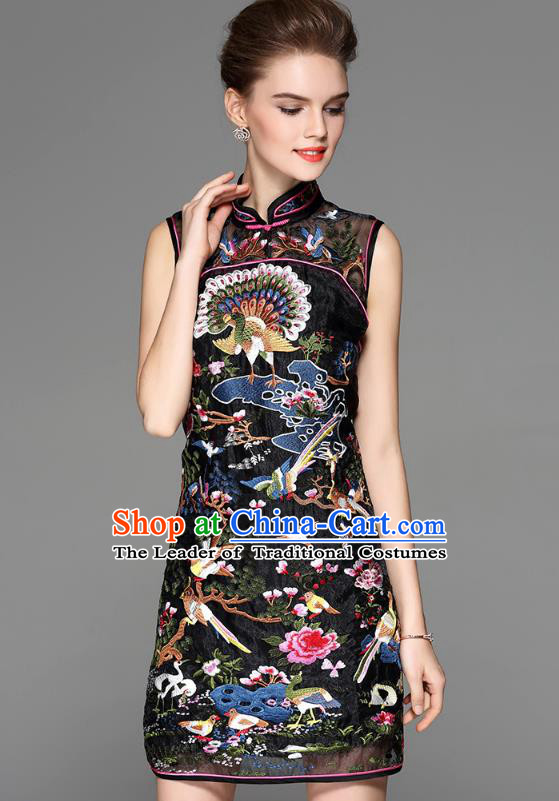 Asian Chinese Oriental Costumes Classical Palace Embroidery Black Cheongsam, Traditional China National Chirpaur Tang Suit Stand Collar Qipao Dress for Women