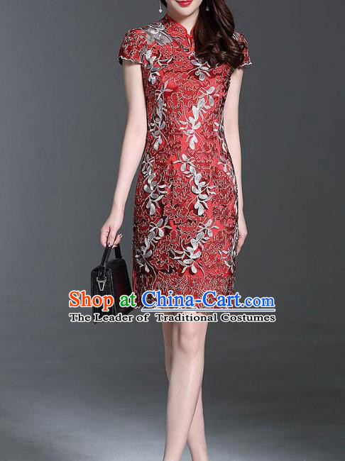 Asian Chinese Oriental Costumes Classical Palace Embroidery Red Lace Cheongsam, Traditional China National Chirpaur Tang Suit Stand Collar Qipao Dress for Women