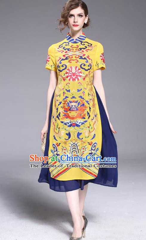 Asian Chinese Oriental Costumes Classical Embroidery Dragon Chiffon Yellow Cheongsam, Traditional China National Tang Suit Stand Collar Qipao Dress for Women