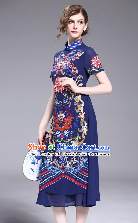 Asian Chinese Oriental Costumes Classical Embroidery Dragon Chiffon Navy Cheongsam, Traditional China National Tang Suit Stand Collar Qipao Dress for Women