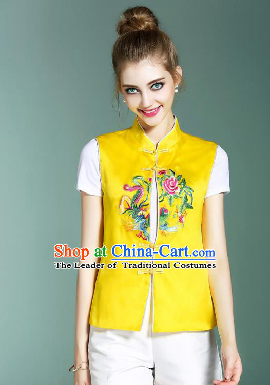 Asian Chinese Oriental Costumes Classical Palace Embroidery Yellow Vest, Traditional China National Chirpaur Tang Suit Plated Buttons Waistcoat for Women