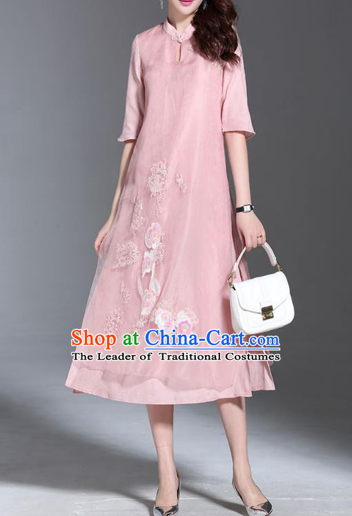 Asian Chinese Oriental Costumes Classical Palace Embroidery Pink Cheongsam, Traditional China National Chirpaur Tang Suit Plated Buttons Qipao for Women