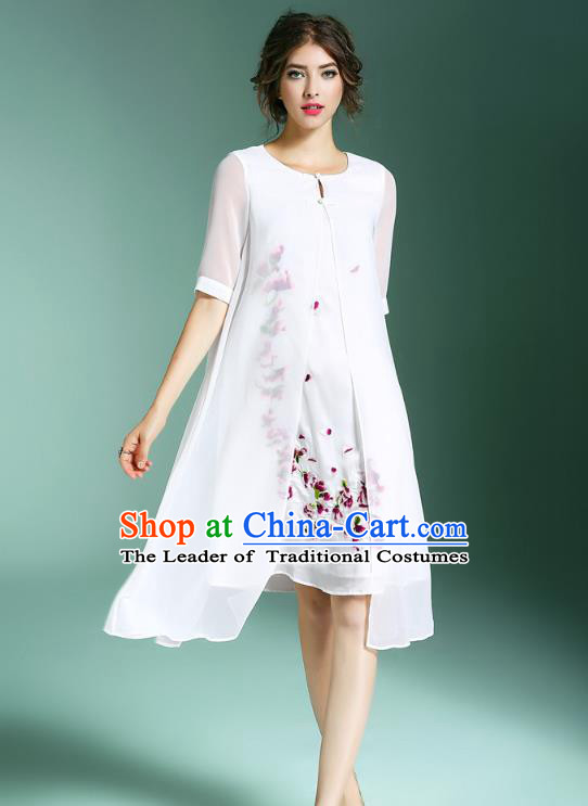 Asian Chinese Oriental Costumes Classical Palace Embroidery White Silk Cheongsam, Traditional China National Chirpaur Tang Suit Plated Buttons Qipao for Women