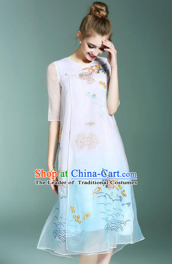 Asian Chinese Oriental Costumes Classical Palace Embroidery Blue Cheongsam, Traditional China National Chirpaur Tang Suit Plated Buttons Qipao for Women