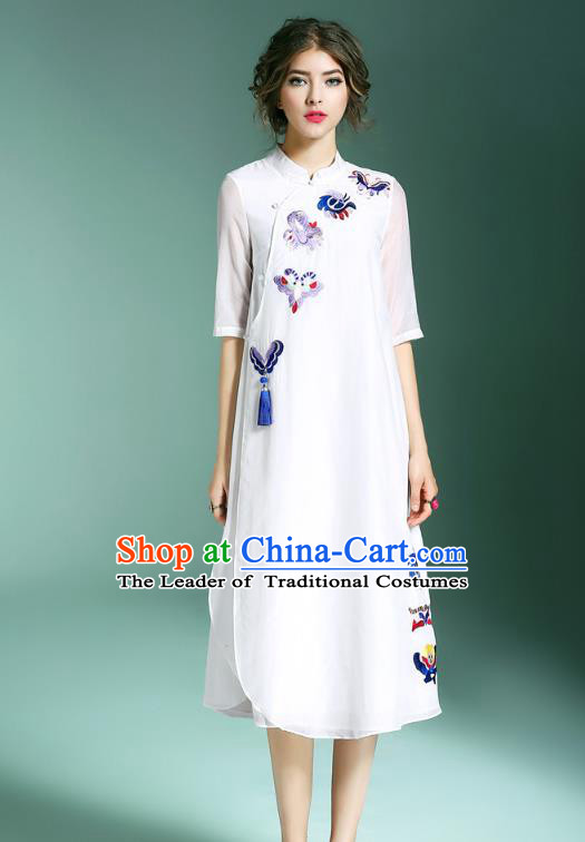 Asian Chinese Oriental Costumes Classical Palace Embroidery White Cheongsam, Traditional China National Chirpaur Tang Suit Plated Buttons Qipao for Women