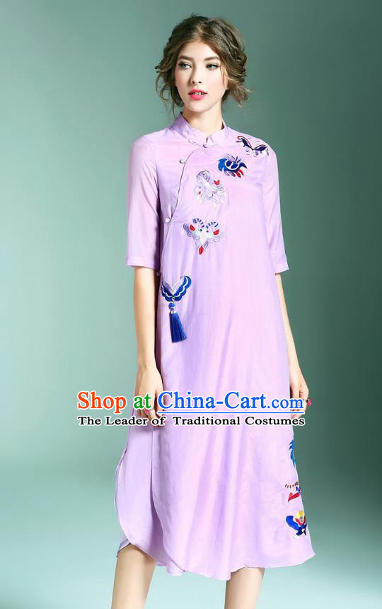 Asian Chinese Oriental Costumes Classical Palace Embroidery Purple Cheongsam, Traditional China National Chirpaur Tang Suit Plated Buttons Qipao for Women