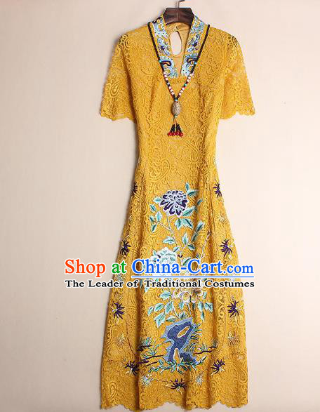 Asian Chinese Oriental Costumes Classical Embroidery Yellow Lace Cheongsam, Traditional China National Chirpaur Tang Suit Qipao for Women