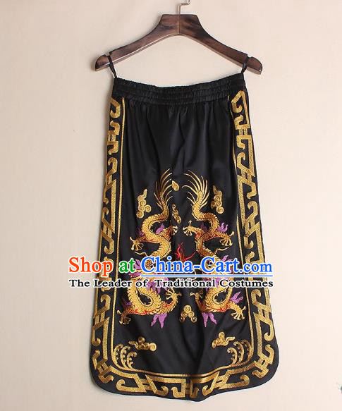 Asian Chinese Oriental Costumes Classical Embroidery Dragons Black Skirts, Traditional China National Chirpaur Tang Suit Bust Skirt for Women