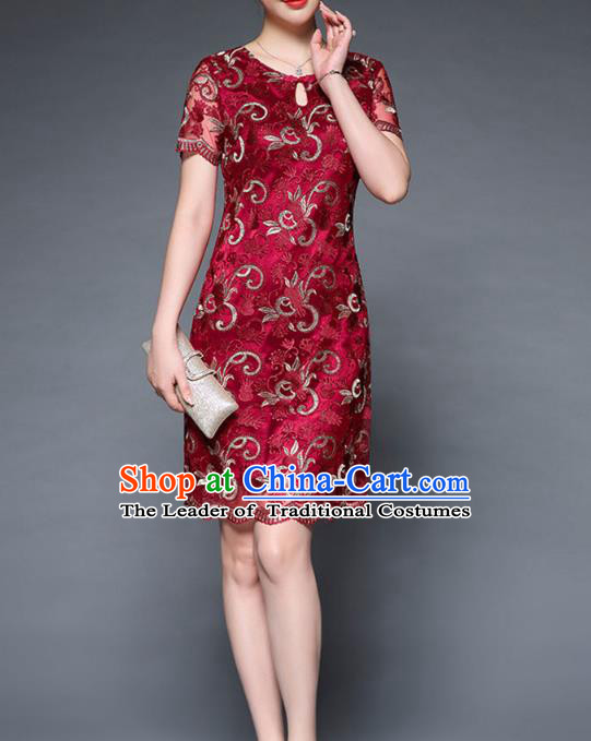 Asian Chinese Oriental Costumes Classical Embroidery Red Lace Dress, Traditional China National Chirpaur Tang Suit Dresses for Women