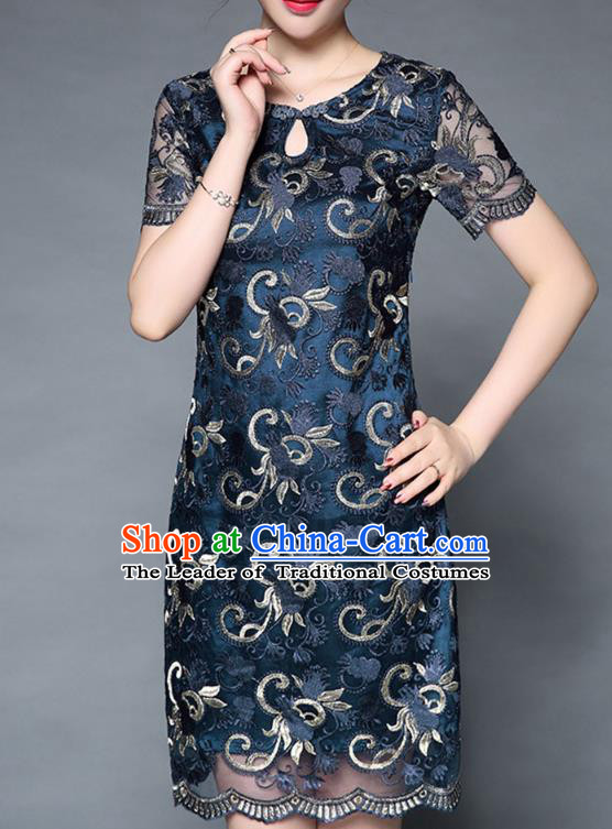 Asian Chinese Oriental Costumes Classical Embroidery Blue Lace Dress, Traditional China National Chirpaur Tang Suit Dresses for Women