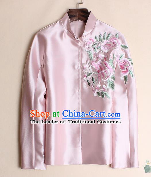Asian Chinese Oriental Costumes Classical Embroidery Peony Pink Shirts, Traditional China National Chirpaur Tang Suit Upper Outer Garment Jacket for Women