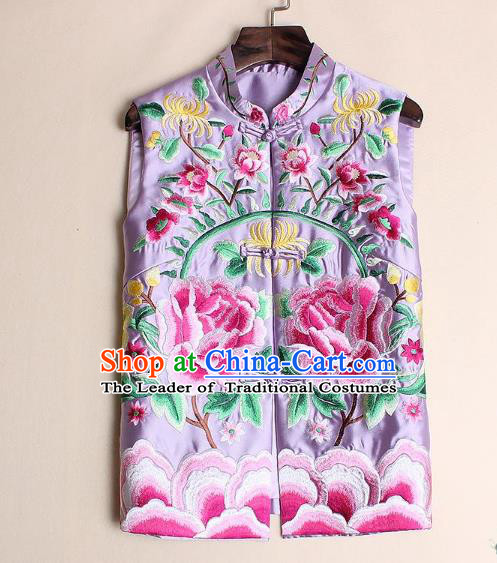 Asian Chinese Oriental Costumes Classical Palace Embroidery Peony Pink Vest, Traditional China National Chirpaur Tang Suit Plated Buttons Waistcoat for Women