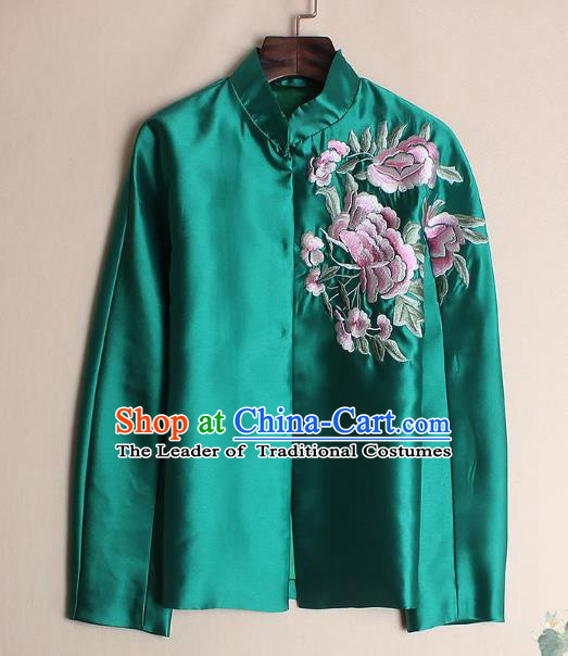 Asian Chinese Oriental Costumes Classical Embroidery Peony Green Shirts, Traditional China National Chirpaur Tang Suit Upper Outer Garment Jacket for Women