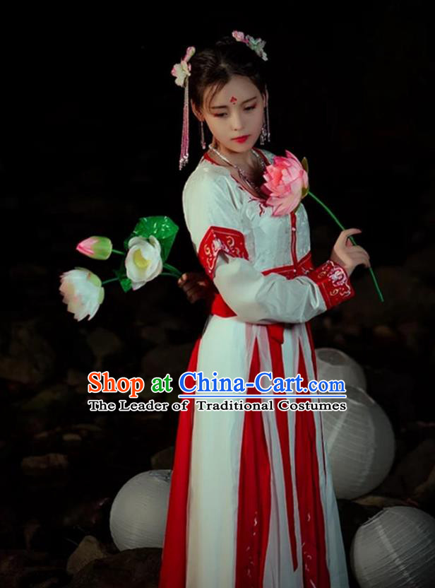 Traditional Asian Oriental China Costume Embroidery Song Dynasty Young Lady Slip Skirts Complete Set, Chinese Hanfu Princess Embroidered Dress for Women