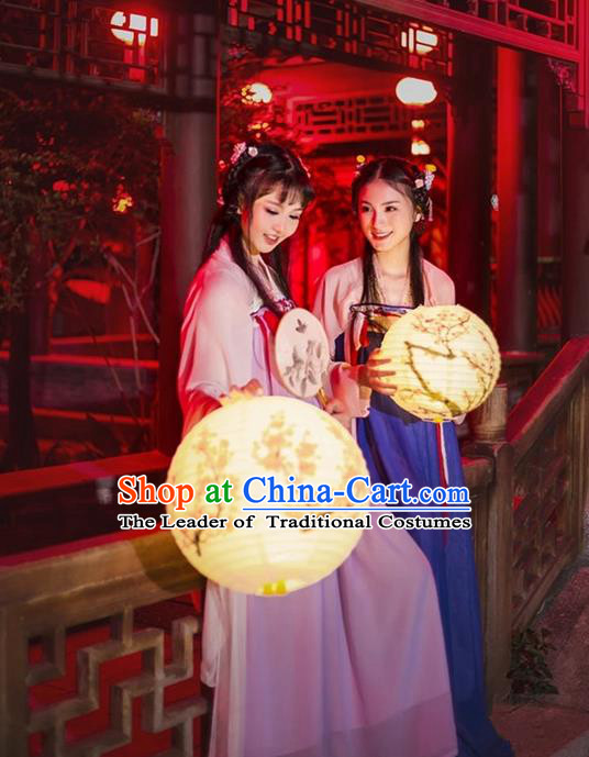 Traditional Asian Oriental China Costume Embroidery Tang Dynasty Young Lady Lantern Festival Slip Skirts, Chinese Hanfu Princess Embroidered Dress for Women