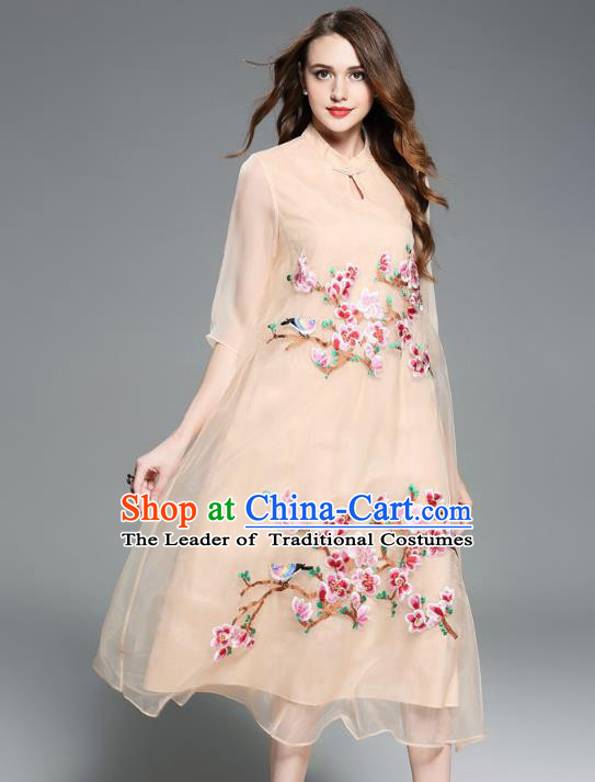 Asian Chinese Oriental Costumes Classical Embroidery Apricot Silk Cheongsam, Traditional China National Chirpaur Tang Suit Plated Buttons Qipao for Women