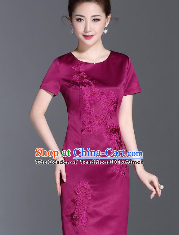 Asian Chinese Oriental Costumes Classical Embroidery Purple Silk Dresses, Traditional China National Chirpaur Tang Suit Qipao for Women