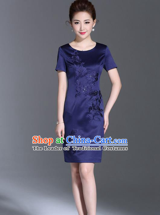 Asian Chinese Oriental Costumes Classical Embroidery Royalblue Silk Dresses, Traditional China National Chirpaur Tang Suit Qipao for Women