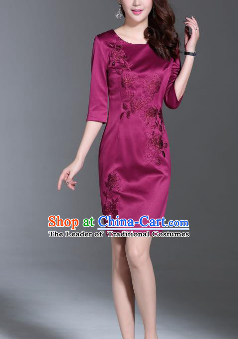 Asian Chinese Oriental Costumes Classical Embroidery Purple Middle Sleeve Dresses, Traditional China National Chirpaur Tang Suit Qipao for Women