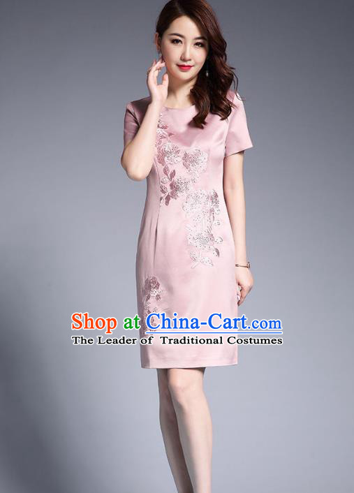 Asian Chinese Oriental Costumes Classical Embroidery Pink Silk Dresses, Traditional China National Chirpaur Tang Suit Qipao for Women