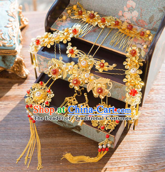 Aisan Chinese Handmade Classical Hair Accessories Phoenix Coronet Complete Set, China Xiuhe Suit Hairpins Red Bead Wedding Headwear for Women