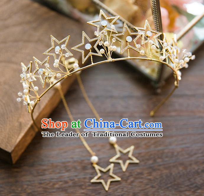 Top Grade Handmade Classical Hair Accessories Baroque Style Princess Crystal Stars Royal Crown Hair Clasp Headwear for Women