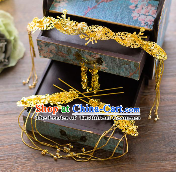 Aisan Chinese Handmade Classical Hair Accessories Tassel Golden Step Shake Complete Set, China Xiuhe Suit Hairpins Wedding Headwear for Women